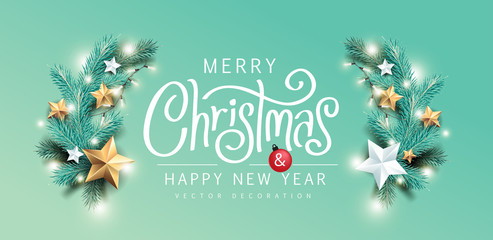 Wall Mural - Merry Christmas and Happy New Year background banner.Merry Christmas vector text Calligraphic Lettering Vector illustration.