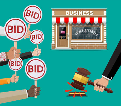 Hands holding auction paddle. Bid plate. Real estate, house building shop or commercial property. Auction competition. Selling or buying new business. Vector illustration in flat style