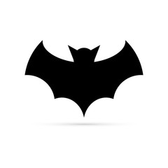 Black bat icon. Silhouette. Stencil, Halloween symbol. Flying bat cartoon vampire. Vector illustration.