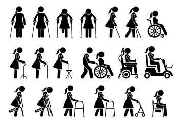 Mobility aids medical tools and equipment stick figure pictogram icons. Artwork signs symbols depicts woman walking with crutches, wheelchair, cane, electric wheelchair, power scooter, and walker.