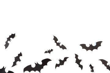 Halloween paper decorations on white  background. Halloween concept. Flat lay, top view, copy space - Image