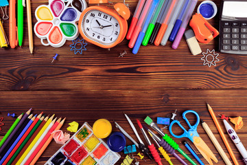 Back to School background concept. School supplies on a wooden background. Education background concept with copyspace.Top view. Back to school - Image