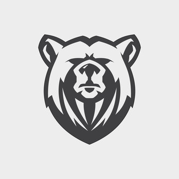 Bear head mascot vector for emblem design with color grey