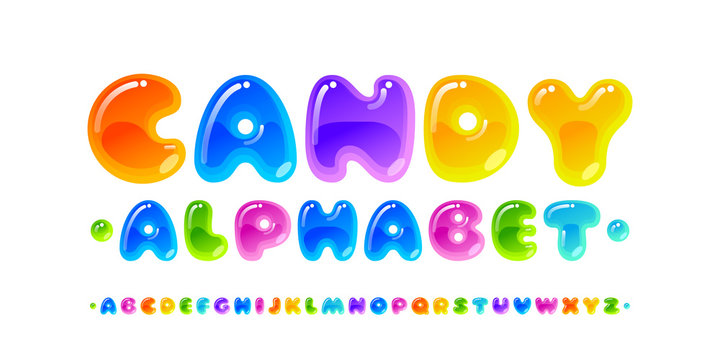 Candy font. Transparent glossy multicolored vector uppercase alphabet isolated on white background