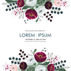 Wall Mural - Vector illustration of a beatiful floral frame in summer for Wedding, anniversary, birthday and party. Design for banner, poster, card, invitation and scrapbook
