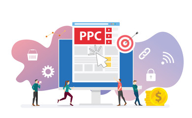 ppc pay per click technology advertising or advertisement concept with team people and clicks icon modern flat style - vector