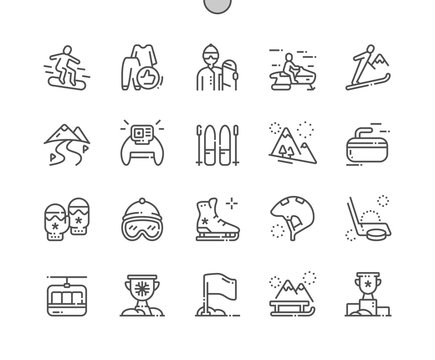 Winter sport Well-crafted Pixel Perfect Vector Thin Line Icons 30 2x Grid for Web Graphics and Apps. Simple Minimal Pictogram