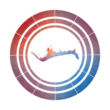 Grand Bahama badge. Bright gradient logo of island in low poly style. Multicolored Grand Bahama rounded sign with map in geometric style for your infographics.