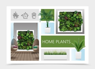 Wall Mural - Realistic Home Plants Composition