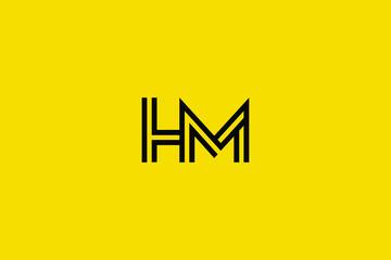 Initial based clean and minimal Logo. HM MH H M letter creative fonts monogram icon symbol. Universal elegant luxury alphabet vector design