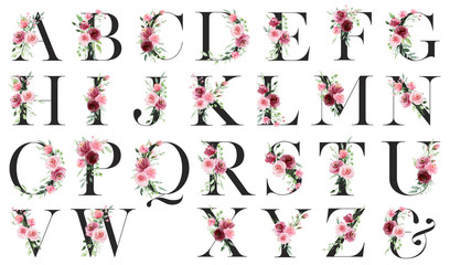 Floral alphabet, letters with watercolor pink flowers and leaf. Monogram initials perfectly for wedding invitations, greeting card, logo, poster and other. Holiday design hand painting. Wall mural