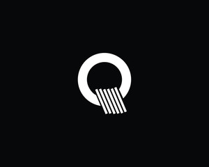 Creative and Minimalist Letter Q Logo Design Icon, Editable in Vector Format in Black and White Color