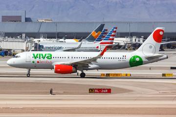 Viva Aerobus Airbus A320 airplane Las Vegas airport