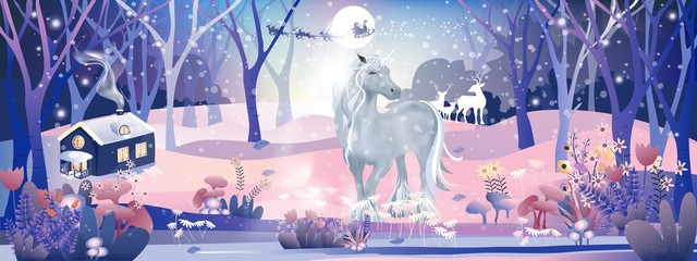 Fantasy landscape of magic forest with fairy tale  Unicorn and Reindeers looking at Santa Claus sleigh Reindeers flying over full moon in Christmas night,Vector illustration cartoon Winter wonderland