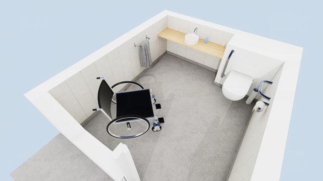 Vue 3d toilettes handicapé, PMR