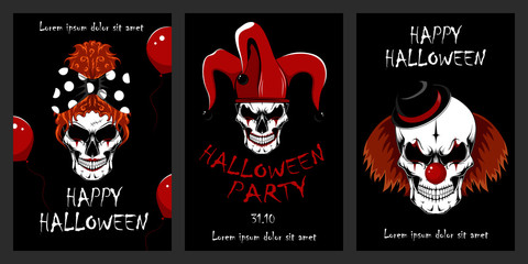 Set of vector illustrations with skulls of evil clowns. Halloween illustrations. Evil clowns. Set of design elements for cards, flyers, banners, posters. Wall mural
