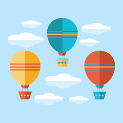A set of icons in a flat vector. Yellow, blue and red air balloon, aerostat flying in the sky among the clouds. Travel by air transport. Isolated objects