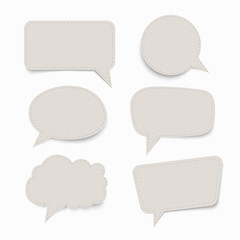 Set of paper speech bubbles with shadow. stock illustration