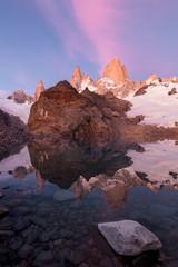 Sunrise mountain reflection in Patagonia