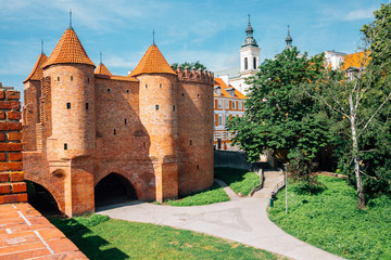 Barbakan Warszawski historic architecture in Warsaw, Poland