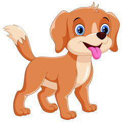 Vector illustrator of happy dog cartoon isolated on white background