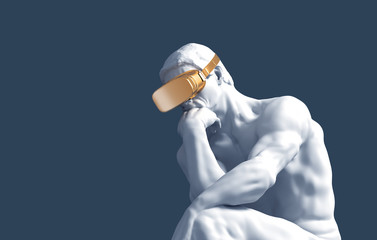 Thinker With Golden VR Glasses Over Blue Background Wall mural