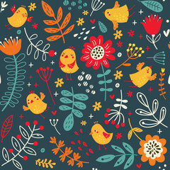 floral background with cute birds and flowers seamless pattern