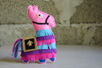 Pink lama. Toy from felt with your own hands. DIY concept for children. Handmade crafts. Step 6. Finished toy.