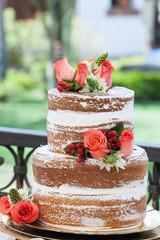 Tasty cake decorated for wedding celebration.