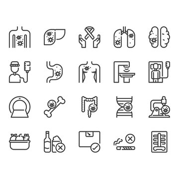 Cancer icon set.Vector illustration
