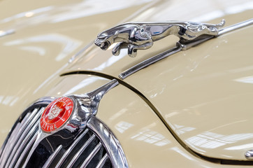 BUCHAREST, ROMANIA - OCTOBER 11: Jaguar Sign on October 11, 2013 in Bucharest, Romania. Founded in 1922 it is a British multinational luxury car manufacturer headquartered in Coventry, England.