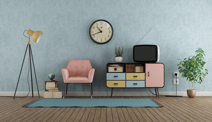 Colorful living room in vintage style