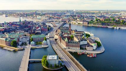 Stockholm, Sweden. Old Town - Gamla Stan. Riddarholmen. Aerial view, From Drone