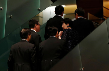 Internal Affairs Minister Sanae Takaichi leaves with other cabinet ministers after photo session at Abe's official residence in Tokyo