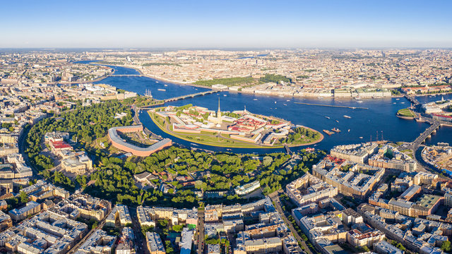 Saint-Petersburg, Russia. Peter-Pavel's Fortress. Panorama of the central part of the city. Neva River