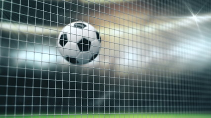 Soccer Slow Motion Ball flight into Goal Net. 3d rendering Close up success Sport Concept. Fans on Stadium taking pictures with flashes strobe lights. 4k UHD 3840x2160.