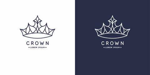Original linear image of the crown. Isolated vector emblem. Illustration in simple flat style.