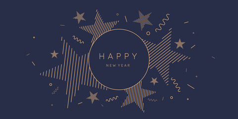 Template to embed greetings. Background with the inscription Happy New Year. Vector illustration with gold lines. Fototapete