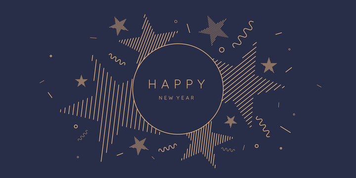 Template to embed greetings. Background with the inscription Happy New Year. Vector illustration with gold lines.