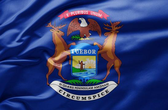 Waving state flag of Michigan - United States of America