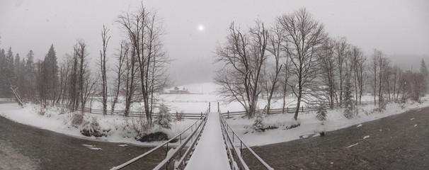 Snowy winter in the Carpathians. Vorokhta, Ivano-Frankivsk region, Ukraine