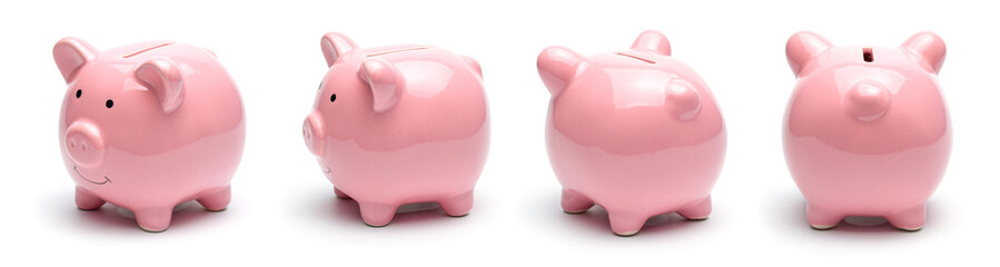 Pink piggy bank isolated on a white background