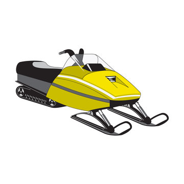 Snowmobile side view yellow outdoor travel recreation snowy transport. Power ride equipment winter atv vector vehicle