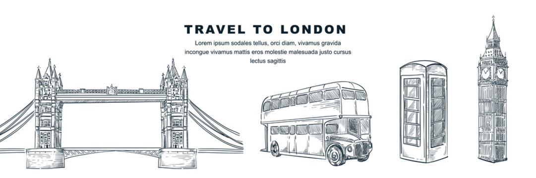 Travel to London hand drawn design. Vector sketch illustration. Great Britain famous symbol isolated on white background