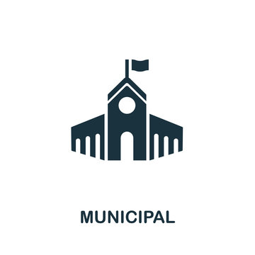 Municipal vector icon symbol. Creative sign from buildings icons collection. Filled flat Municipal icon for computer and mobile