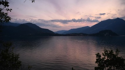 Fotomurales - Bellagio Italy Lake Como Sunset. Summer Season. European Destination.