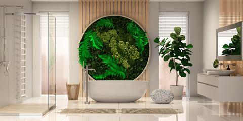 Modern spa bathroom interior with fytowall