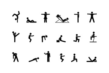sport icon, stick figure man pictogram, human silhouette isolated on white background