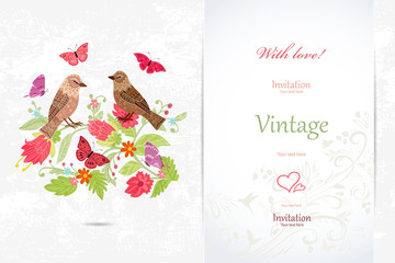 Fototapete - elegant invitation card with couple of birds in flowers for your