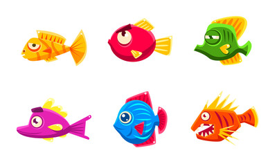 Colorful Little Glossy Fishes Set, Funny Big Eyed Fishes Cartoon Characters Vector Illustration